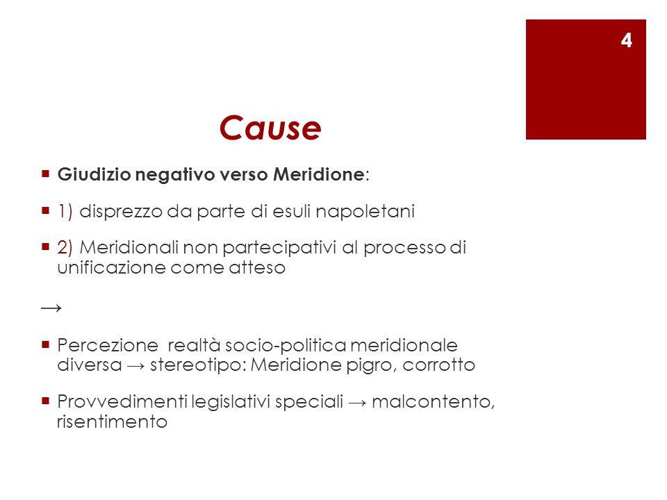 Cause → Giudizio negativo verso Meridione: