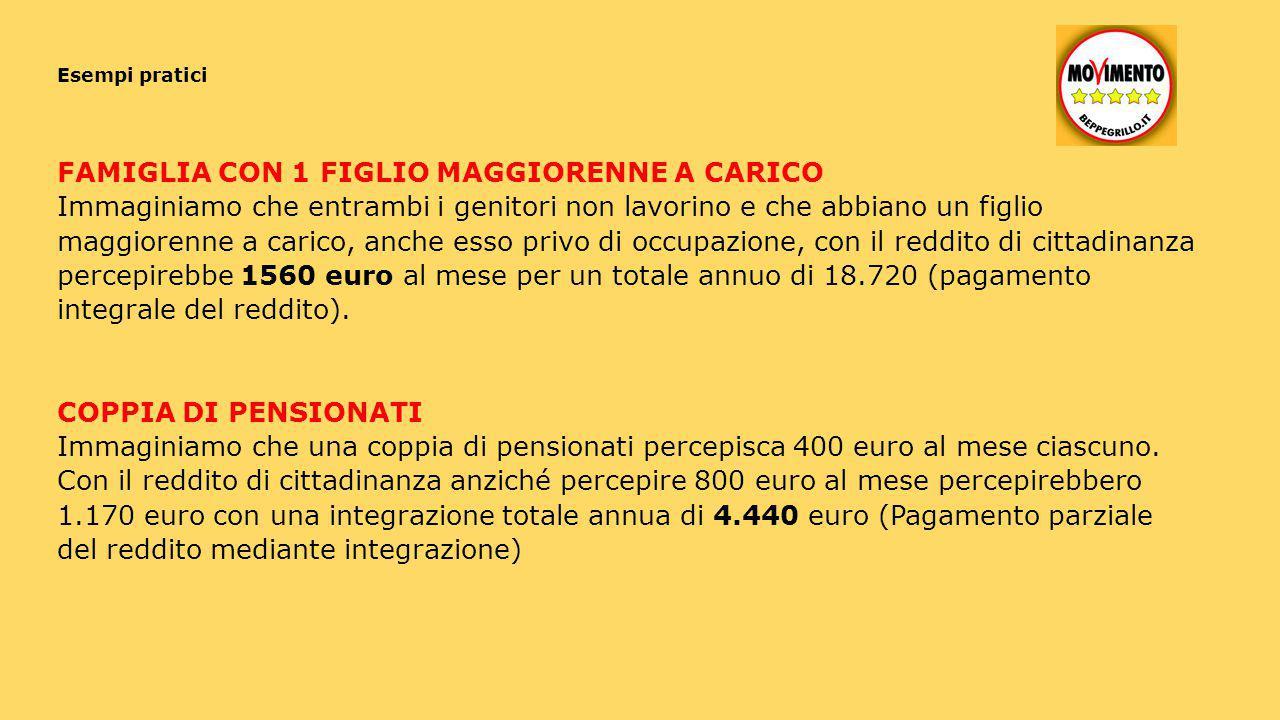 FAMIGLIA CON 1 FIGLIO MAGGIORENNE A CARICO