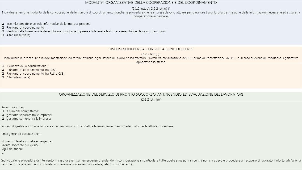 MODALITA' ORGANIZZATIVE DELLA COOPERAZIONE E DEL COORDINAMENTO