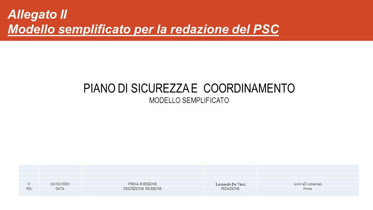 Allegato II Modello semplificato per la redazione del PSC