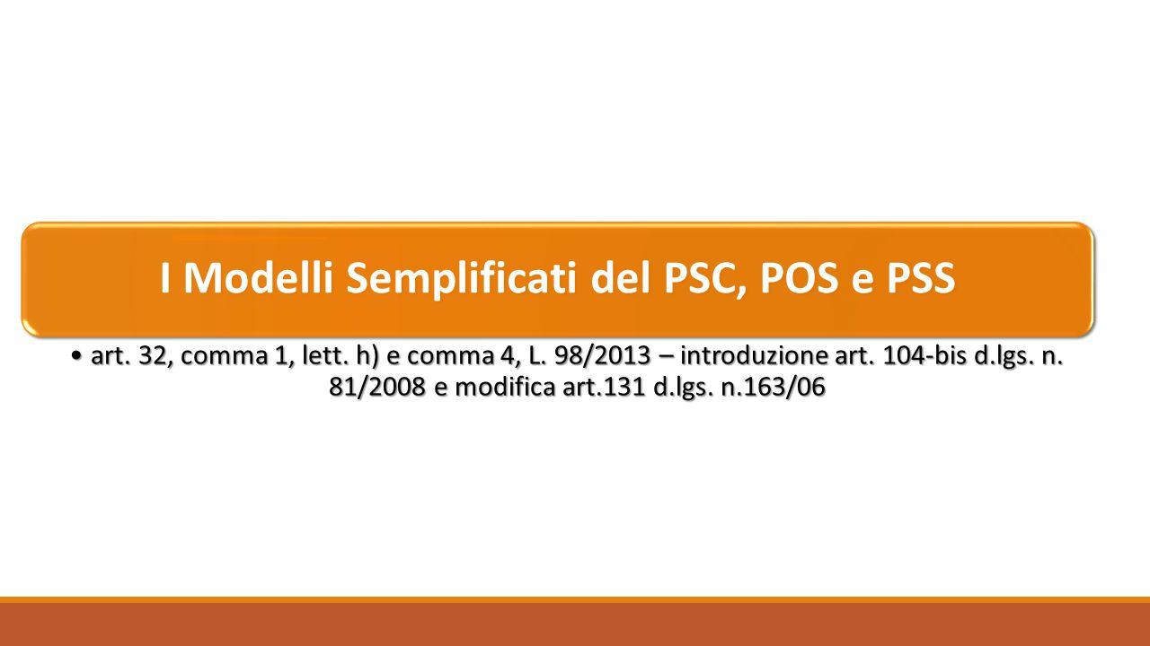 I Modelli Semplificati del PSC, POS e PSS