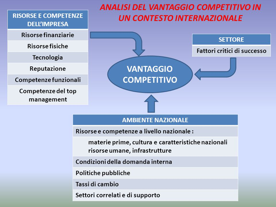 ANALISI DEL VANTAGGIO COMPETITIVO IN UN CONTESTO INTERNAZIONALE