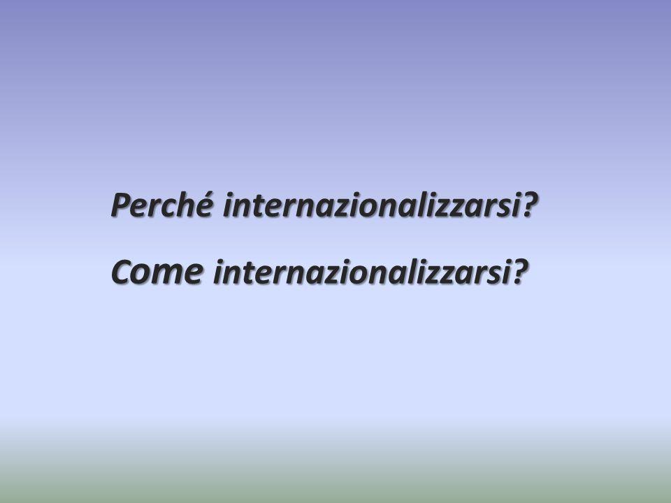 Perché internazionalizzarsi Come internazionalizzarsi