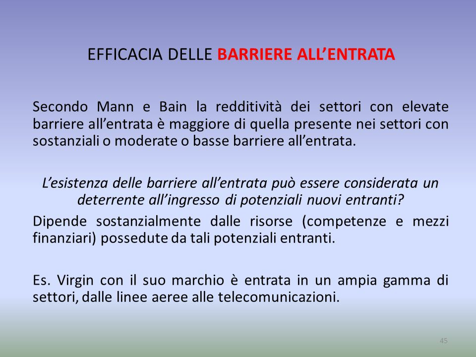 EFFICACIA DELLE BARRIERE ALL'ENTRATA
