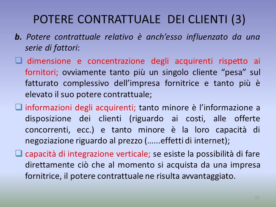 POTERE CONTRATTUALE DEI CLIENTI (3)