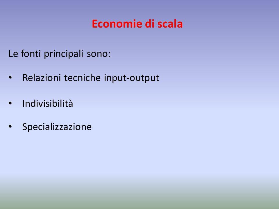 Economie di scala Le fonti principali sono: