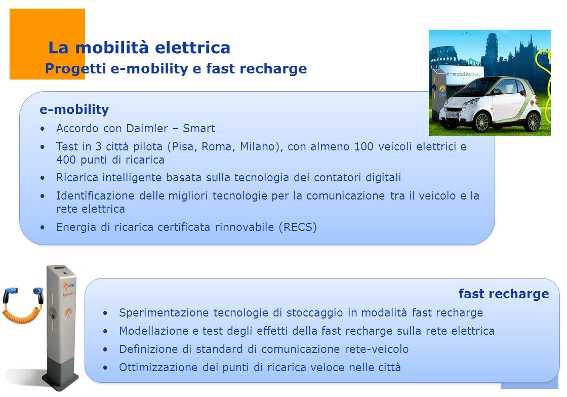La mobilità elettrica Progetti e-mobility e fast recharge e-mobility
