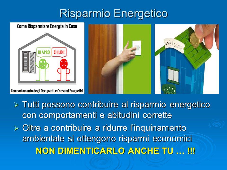 Risparmio Energetico Tutti possono contribuire al risparmio energetico con comportamenti e abitudini corrette.