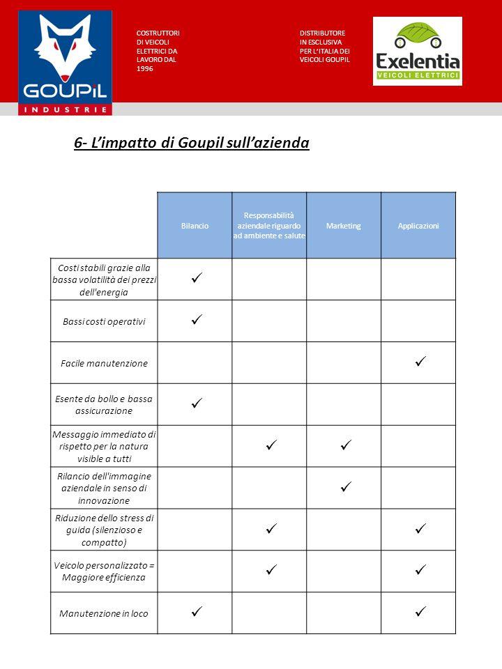 6- L'impatto di Goupil sull'azienda