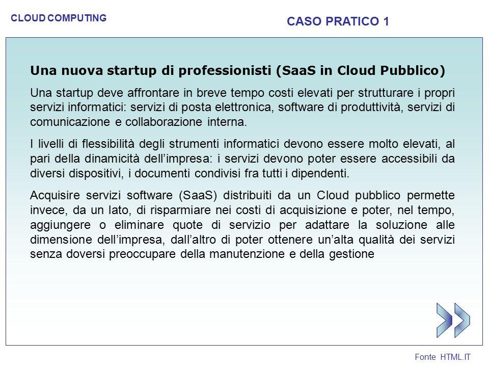 CASO PRATICO 1 Una nuova startup di professionisti (SaaS in Cloud Pubblico)