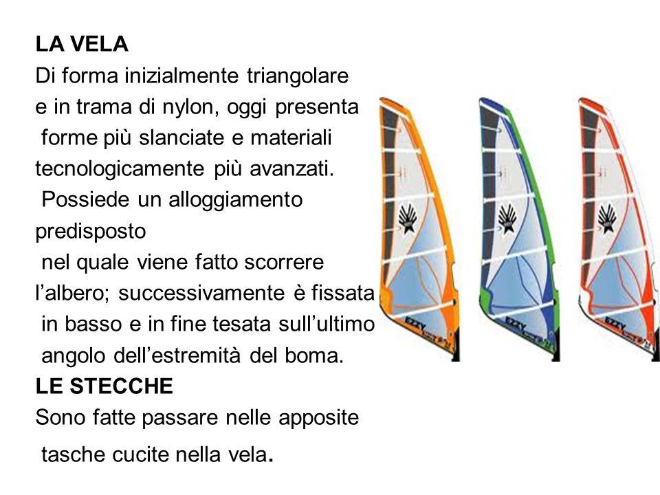 LA VELA Di forma inizialmente triangolare. e in trama di nylon, oggi presenta. forme più slanciate e materiali.