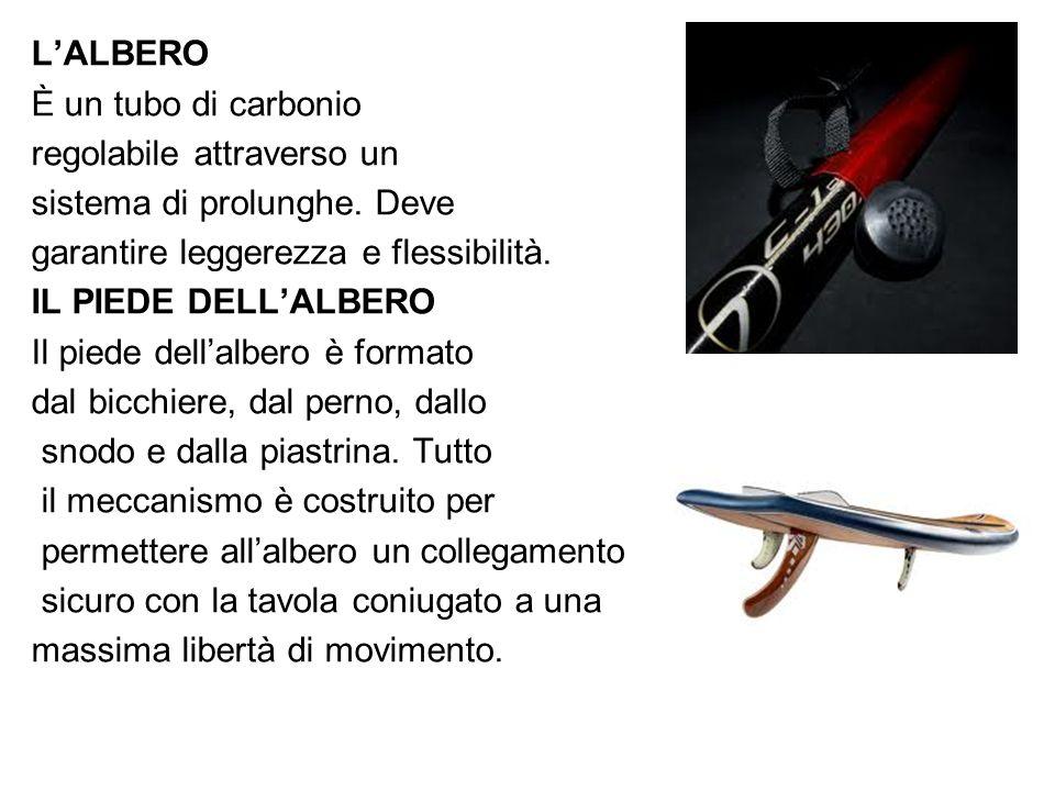 L'ALBERO È un tubo di carbonio. regolabile attraverso un. sistema di prolunghe. Deve. garantire leggerezza e flessibilità.