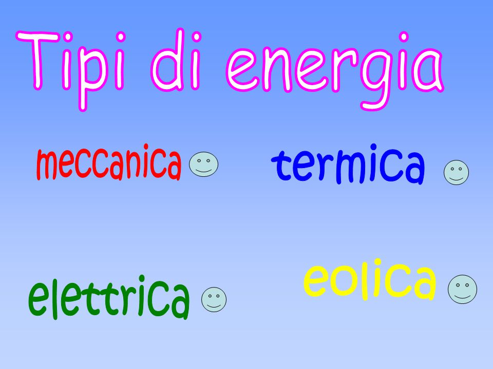 Tipi di energia meccanica termica eolica elettrica