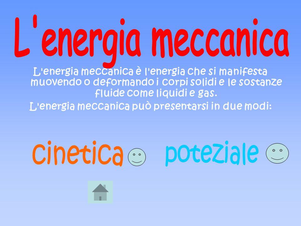L energia meccanica può presentarsi in due modi: