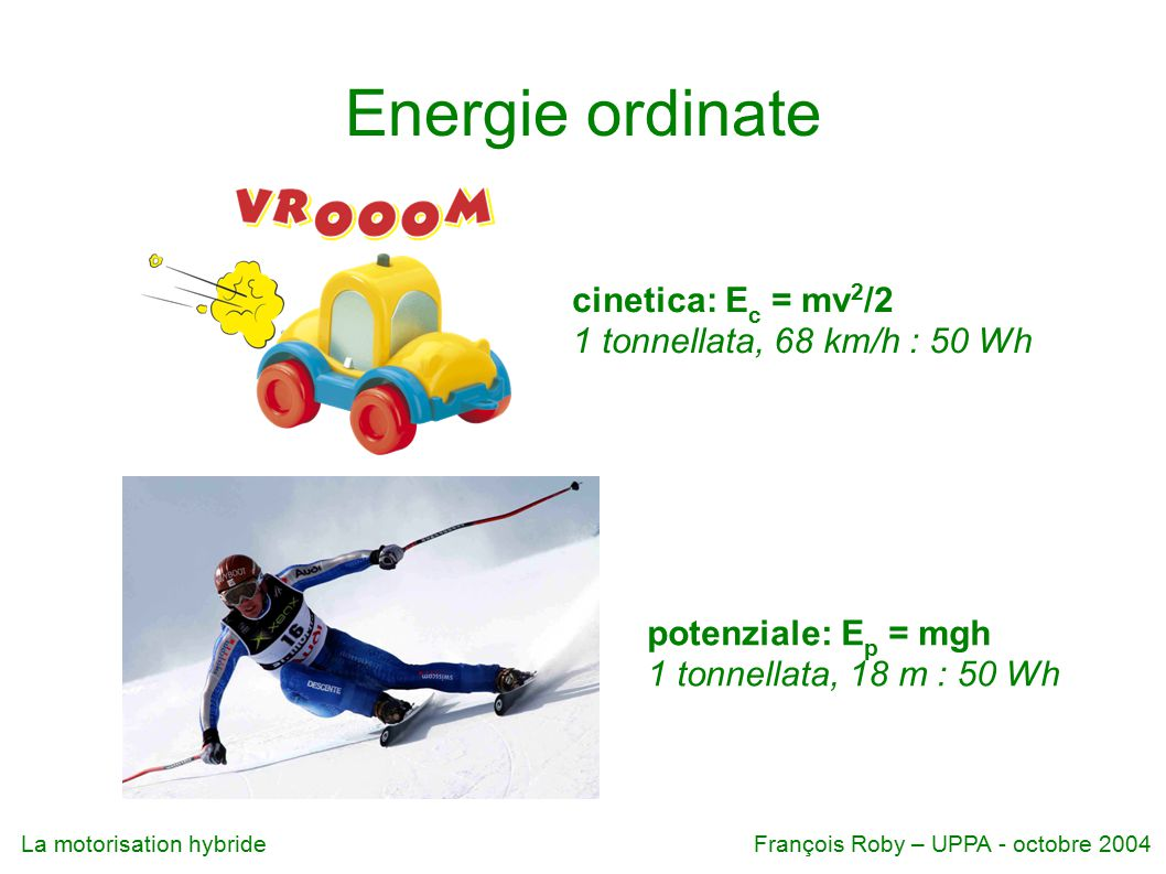 Energie ordinate cinetica: Ec = mv2/2 1 tonnellata, 68 km/h : 50 Wh