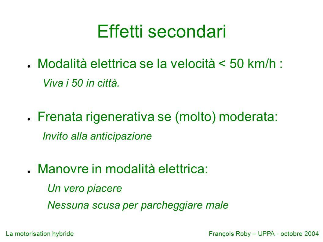 Effetti secondari Modalità elettrica se la velocità < 50 km/h :