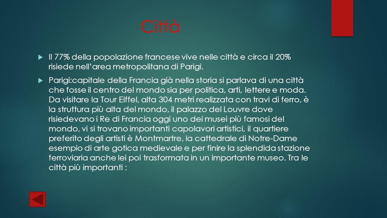 Città Il 77% della popolazione francese vive nelle città e circa il 20% risiede nell'area metropolitana di Parigi.