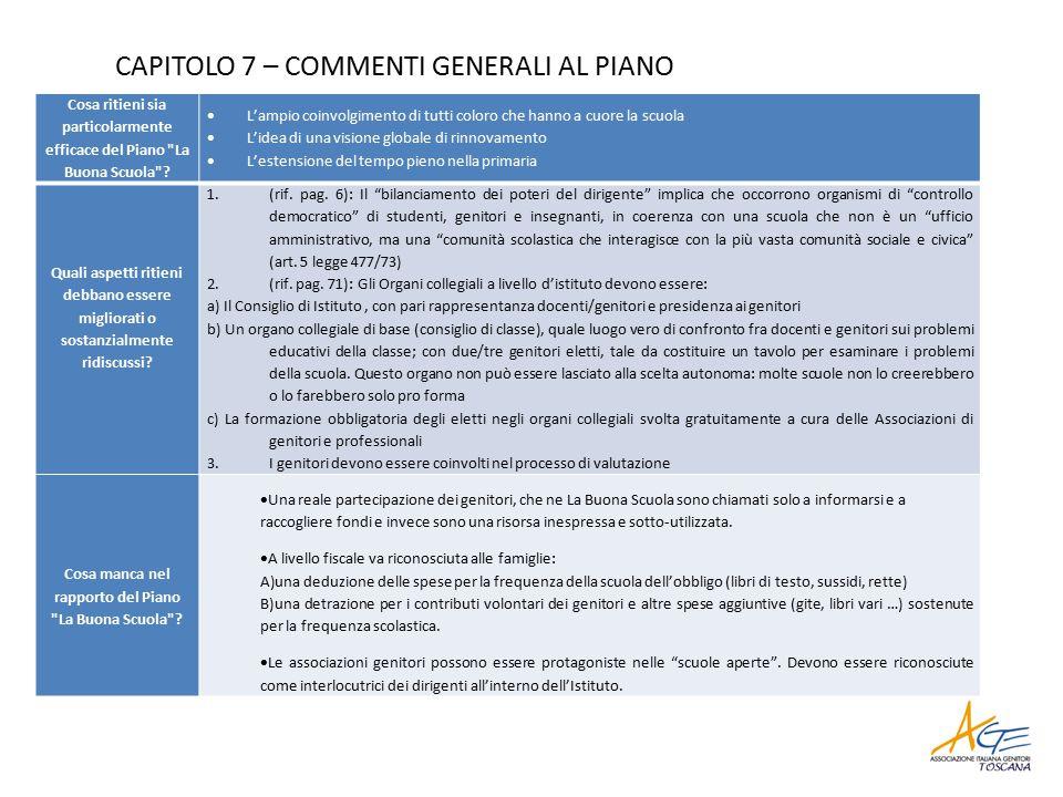 CAPITOLO 7 – COMMENTI GENERALI AL PIANO