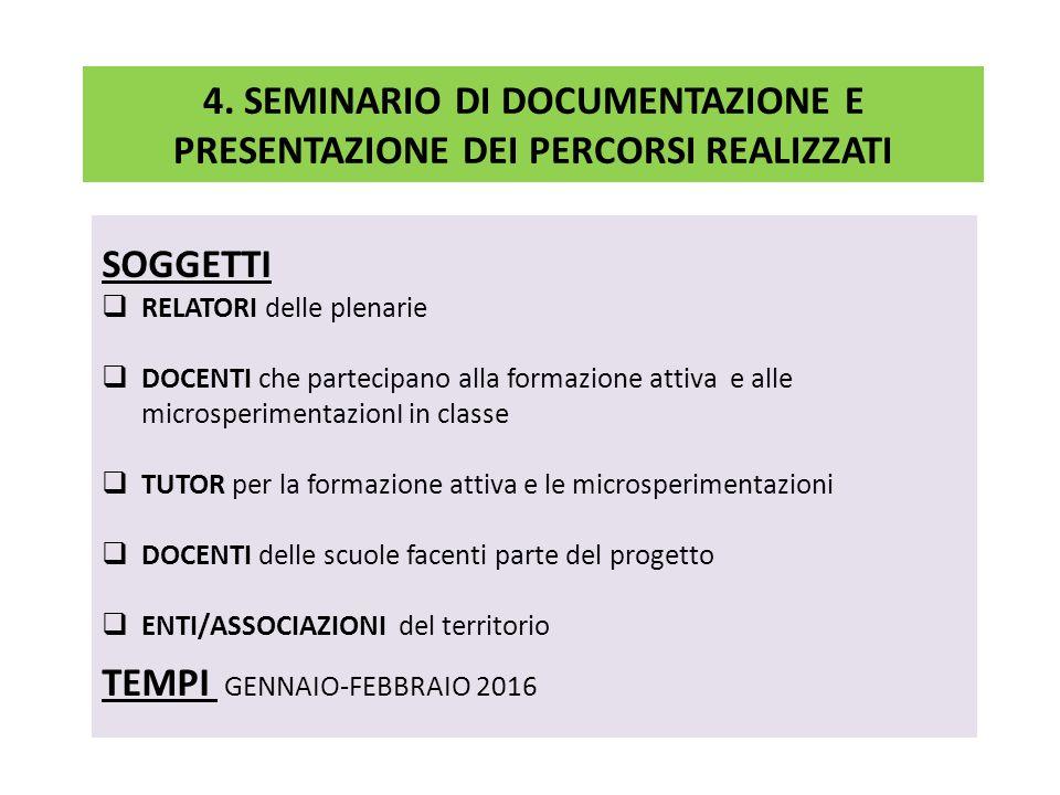 4. SEMINARIO DI DOCUMENTAZIONE E PRESENTAZIONE DEI PERCORSI REALIZZATI