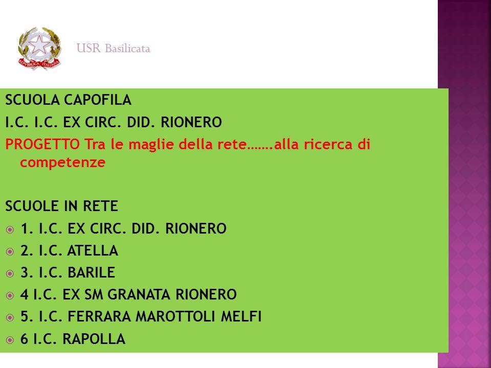 USR Basilicata SCUOLA CAPOFILA. I.C. I.C. EX CIRC. DID. RIONERO. PROGETTO Tra le maglie della rete…….alla ricerca di competenze.