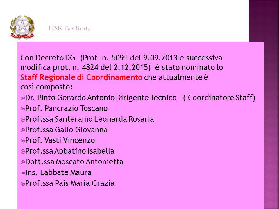 USR Basilicata Con Decreto DG (Prot. n. 5091 del 9.09.2013 e successiva. modifica prot. n. 4824 del 2.12.2015) è stato nominato lo.