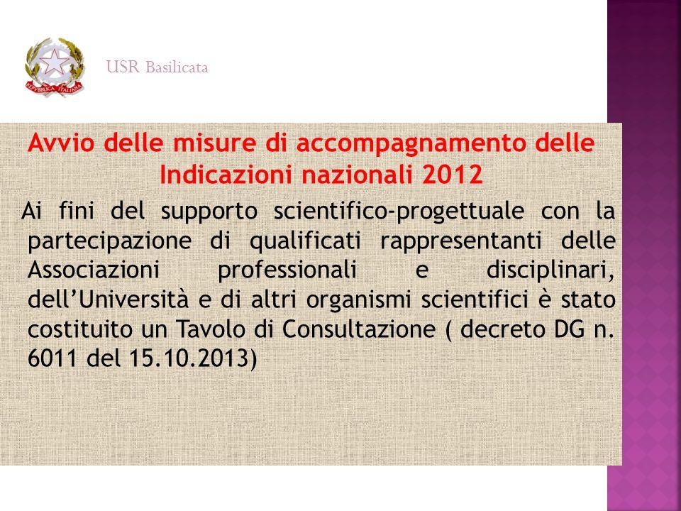 Avvio delle misure di accompagnamento delle Indicazioni nazionali 2012