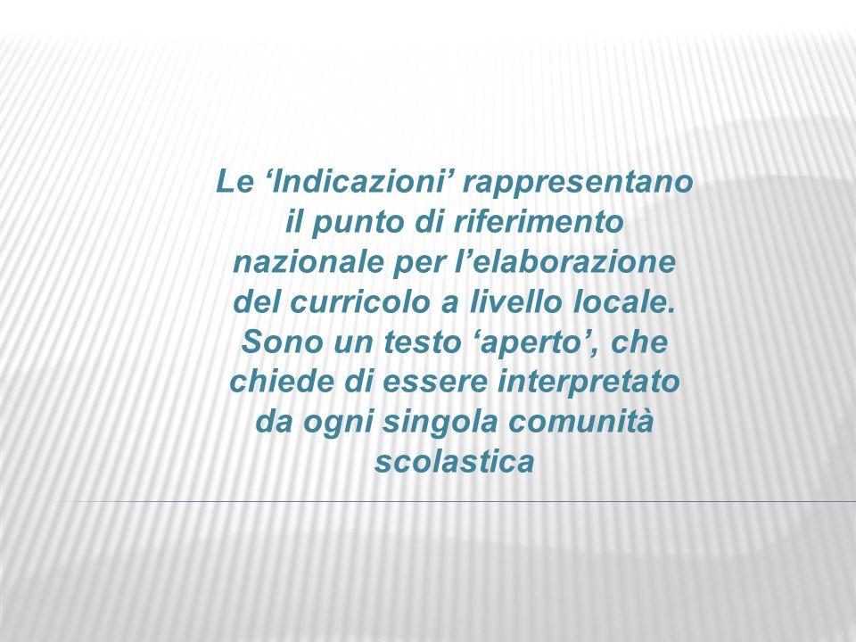 Le 'Indicazioni' rappresentano il punto di riferimento nazionale per l'elaborazione del curricolo a livello locale.