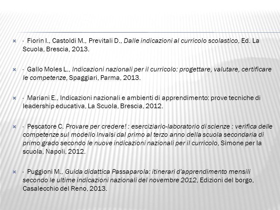 · Fiorin I., Castoldi M., Previtali D., Dalle indicazioni al curricolo scolastico, Ed. La Scuola, Brescia, 2013.