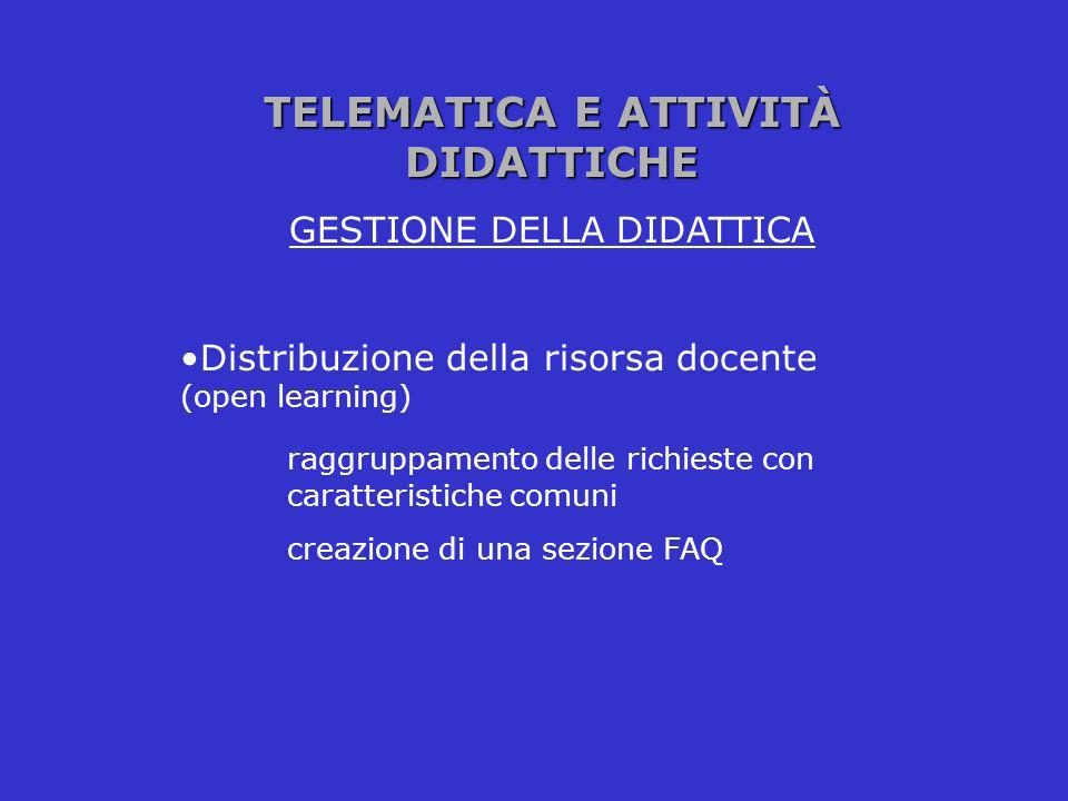 TELEMATICA E ATTIVITÀ DIDATTICHE