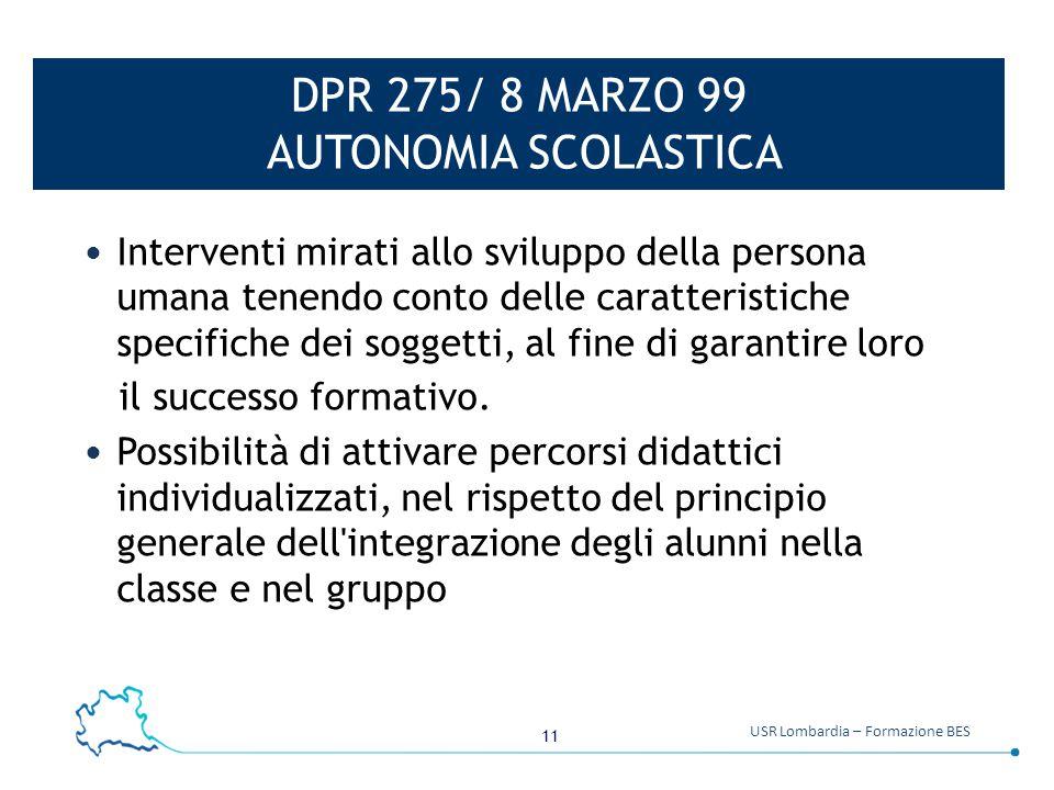 DPR 275/ 8 MARZO 99 AUTONOMIA SCOLASTICA