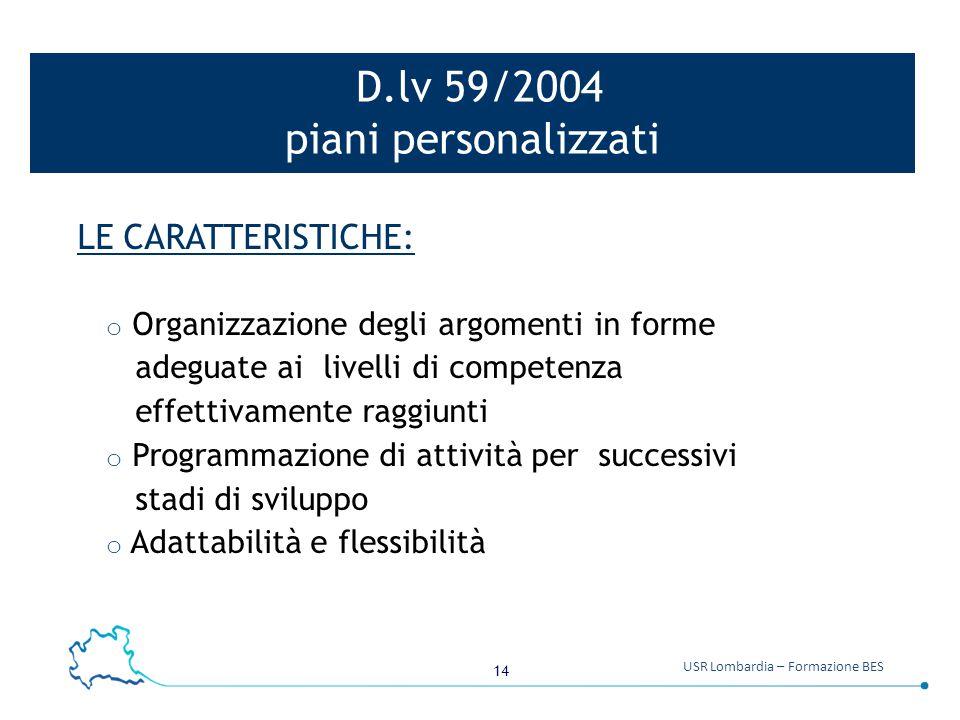 D.lv 59/2004 piani personalizzati