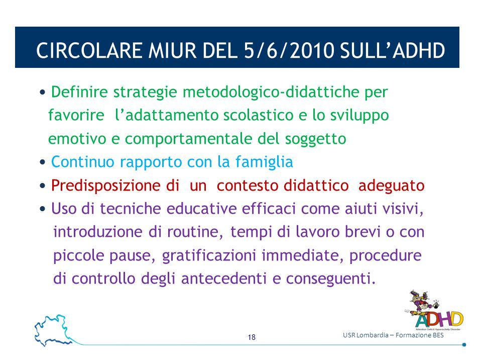 CIRCOLARE MIUR DEL 5/6/2010 SULL'ADHD