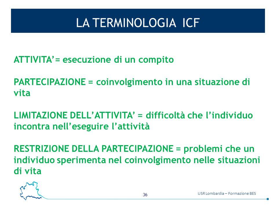 LA TERMINOLOGIA ICF ATTIVITA'= esecuzione di un compito