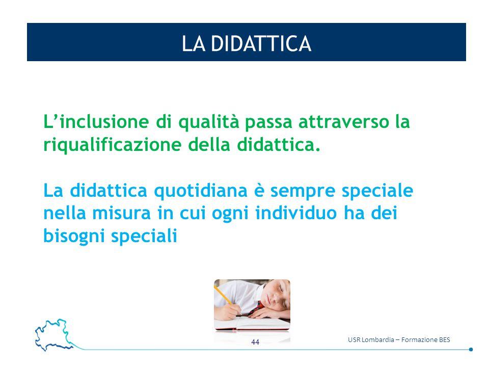 LA DIDATTICA L'inclusione di qualità passa attraverso la riqualificazione della didattica.