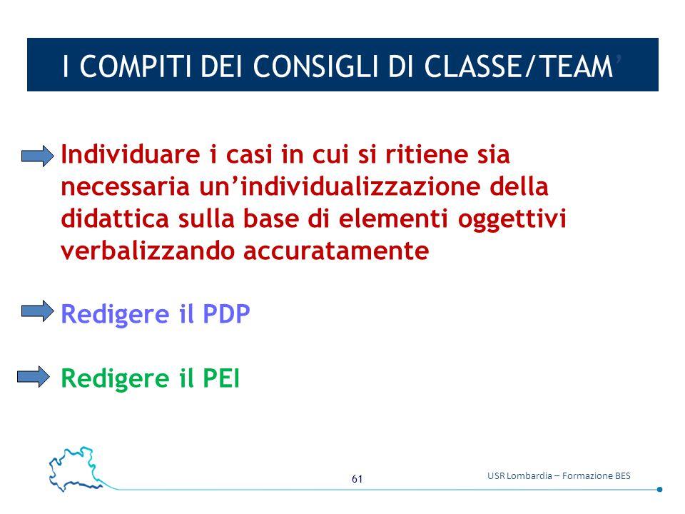 I COMPITI DEI CONSIGLI DI CLASSE/TEAM'