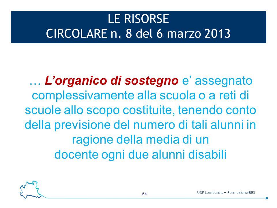 LE RISORSE CIRCOLARE n. 8 del 6 marzo 2013
