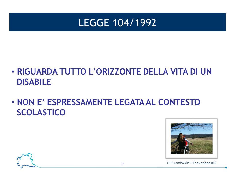 LEGGE 104/1992 RIGUARDA TUTTO L'ORIZZONTE DELLA VITA DI UN DISABILE