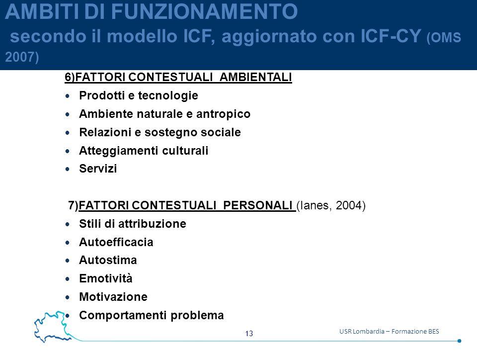 AMBITI DI FUNZIONAMENTO secondo il modello ICF, aggiornato con ICF-CY (OMS 2007)
