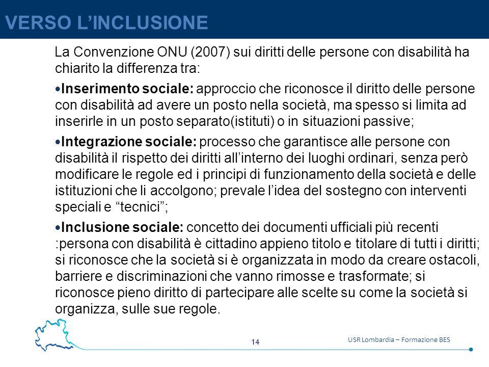 VERSO L'INCLUSIONE La Convenzione ONU (2007) sui diritti delle persone con disabilità ha chiarito la differenza tra: