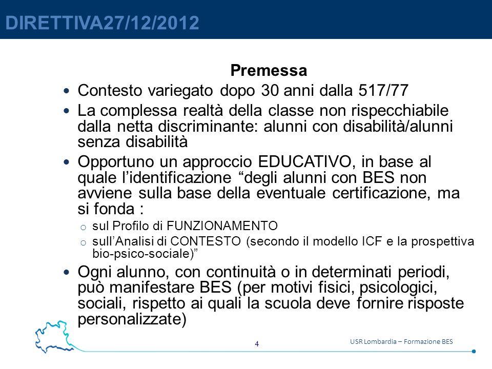 DIRETTIVA27/12/2012 Premessa. Contesto variegato dopo 30 anni dalla 517/77.