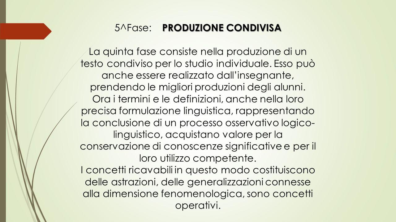 5^Fase: Produzione condivisa