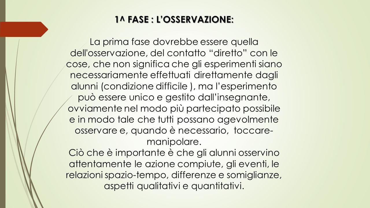 1^ FASE : L'OSSERVAZIONE: