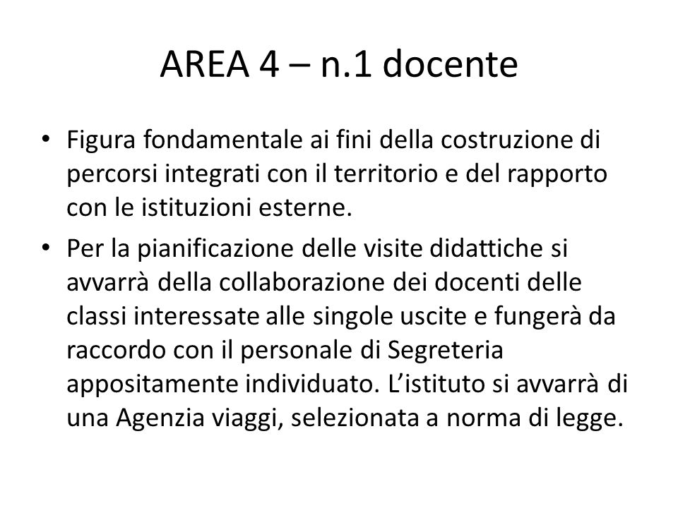 AREA 4 – n.1 docente Figura fondamentale ai fini della costruzione di percorsi integrati con il territorio e del rapporto con le istituzioni esterne.