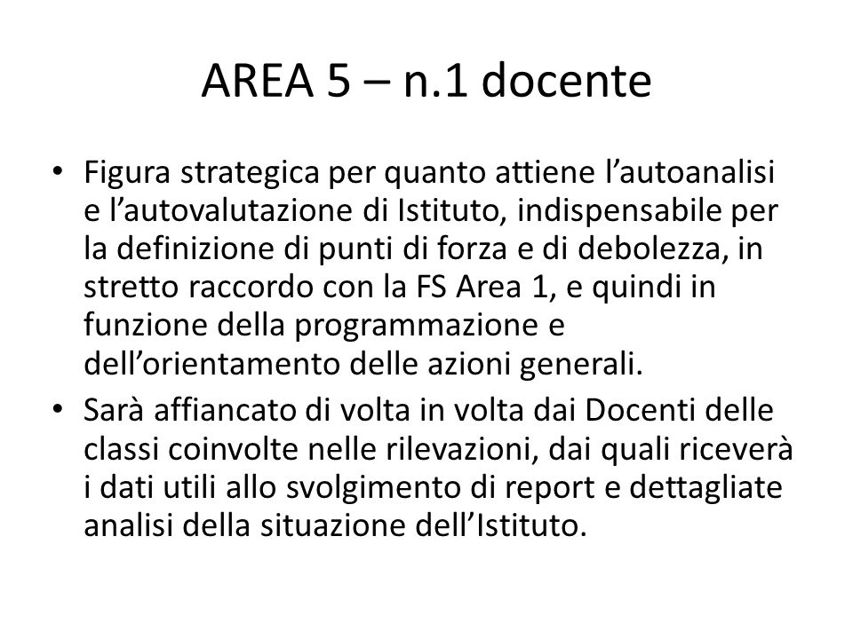 AREA 5 – n.1 docente