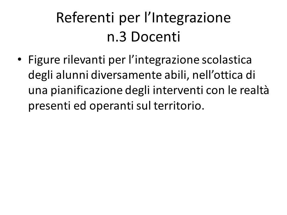 Referenti per l'Integrazione n.3 Docenti