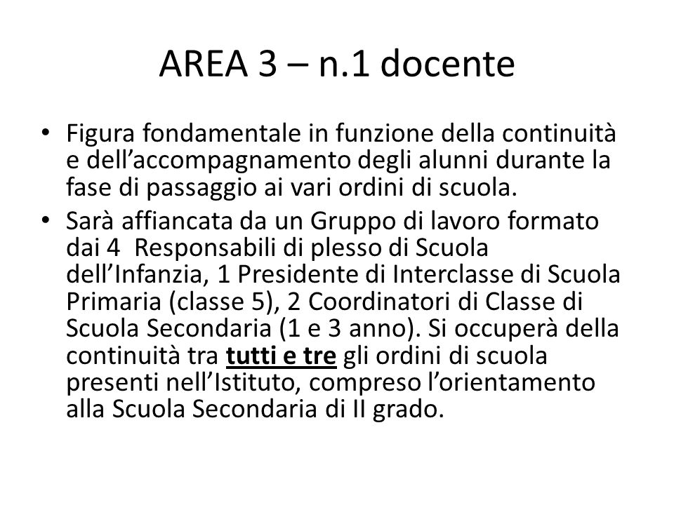 AREA 3 – n.1 docente