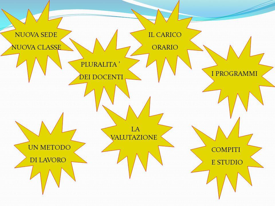 NUOVA SEDE NUOVA CLASSE. IL CARICO. ORARIO. PLURALITA ' DEI DOCENTI. I PROGRAMMI. LA VALUTAZIONE.