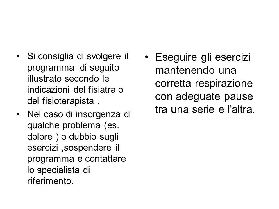 Si consiglia di svolgere il programma di seguito illustrato secondo le indicazioni del fisiatra o del fisioterapista .