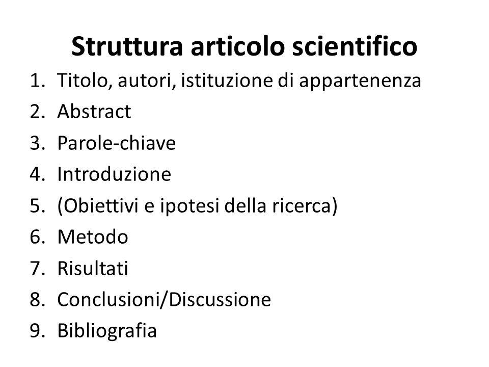Struttura articolo scientifico