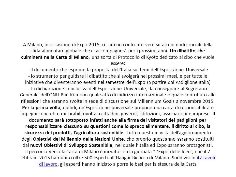 A Milano, in occasione di Expo 2015, ci sarà un confronto vero su alcuni nodi cruciali della sfida alimentare globale che ci accompagnerà per i prossimi anni.